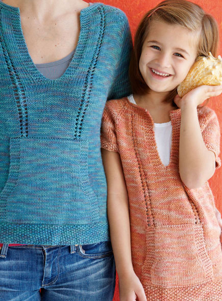 Casual Knitted T Shirt For Mom And Daughter Free Knitting Pattern