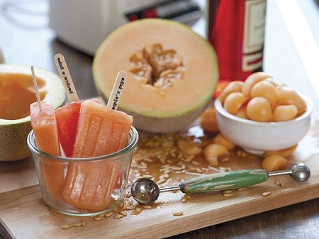Popsicle Recipe — Cantaloupe & Campari Popsicles
