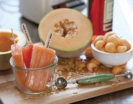 Popsicle Recipe — Cantaloupe & Campari Popsicles