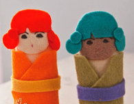 Felt Finger Puppets — Kokeshi Doll and Robot