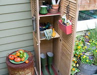 Repurposed Shutter Storage Space