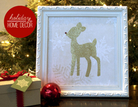 Christmas Decoration — Framed Glitter Reindeer