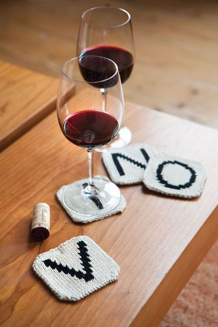 Knit Letter Tile Coasters