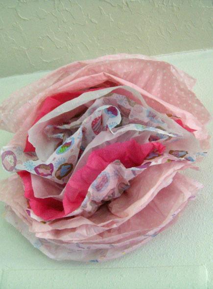 Tissue paper flower from baby shower gift wrap craftfoxes tissue paper flower from baby shower gift wrap mightylinksfo