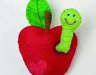 Felt Apple & Worm Sewing Pattern