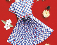 Skirt & Stripe Blouse Handmade Card