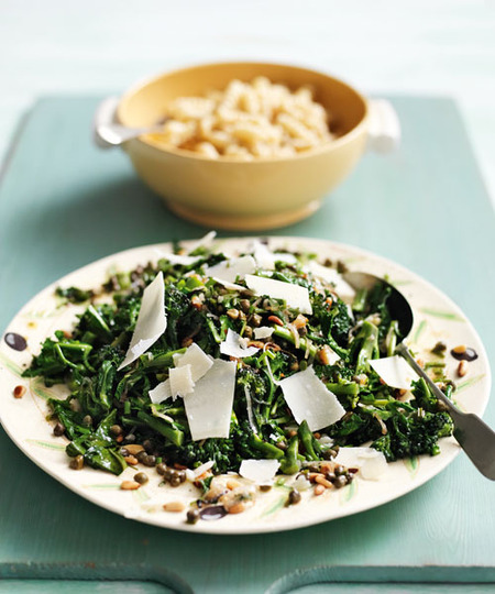 Baby Broccoli with Pine Nuts & Caper Butter Sauce