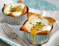 Egg-Filled Croissant Cups with Swiss Cheese and Chives