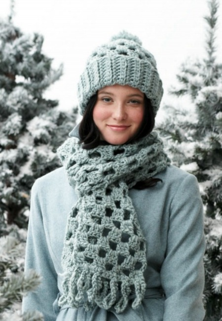 Quick Checkered Crochet Hat And Scarf Free Crochet Pattern