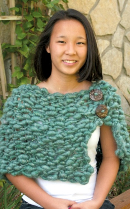 Simple Chunky Knit Shawl With Buttons Free Knitting Pattern