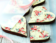 Chocolate Heart Cookie Recipes with Floral Print