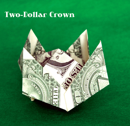 Two Dollar Origami Crown Craftfoxes