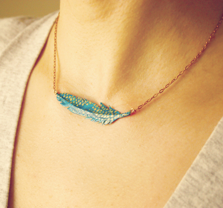 Paper Feather Necklace