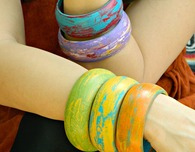Wax Resist Wood Bangles