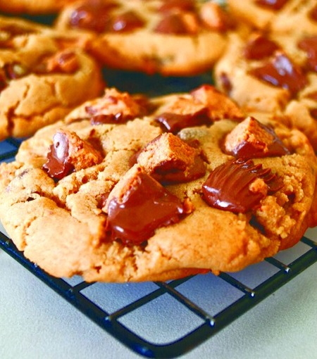 Easy Peanut Butter Cookies with Reese's Peanut Butter Cups