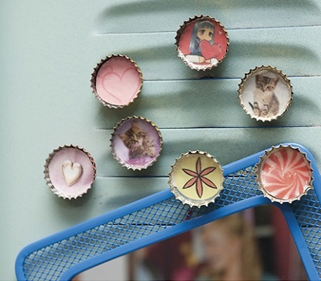 Recycled Crafts for Kids and Teens - Bottle Cap Photo Frames