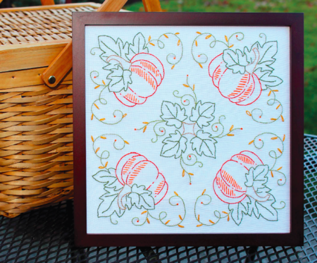 Pumpkins on the Square (Free Embroidery Pattern)