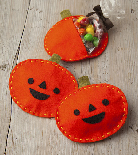 Felt Pumpkin Halloween Treat Pouch