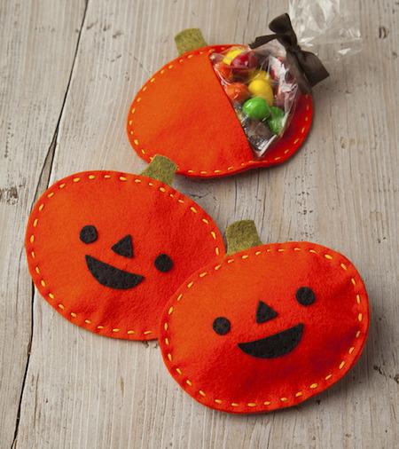 Felt Pumpkin Halloween Treat Pouch Craftfoxes