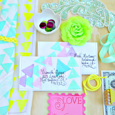 GEO Stamped and Stitched Napkins and Envelopes