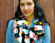 Colorful Pom Pom Scarf
