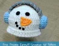 Preemie Earmuff Snowman Hat