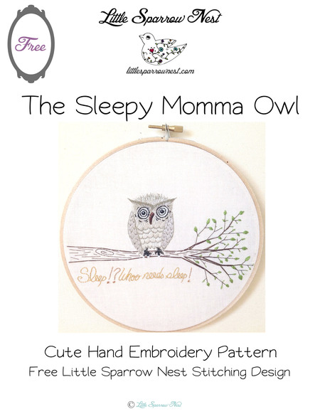 Sleepy Owl Free Hand Embroidery Design Craftfoxes