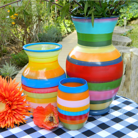 Striped Spring Vases (painted on a record player)