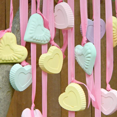 Candy Hearts Wind Chime and Ornaments