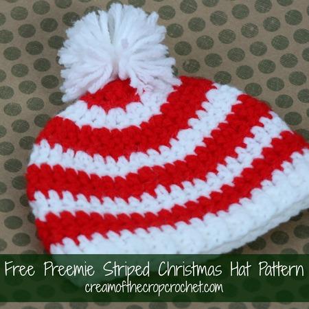 Crochet Preemie Striped Christmas Hat Craftfoxes