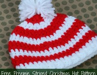 Crochet Preemie Striped Christmas Hat