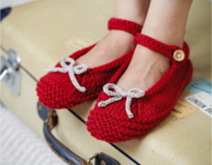 Knitted Ballerina Slippers (Free Pattern)