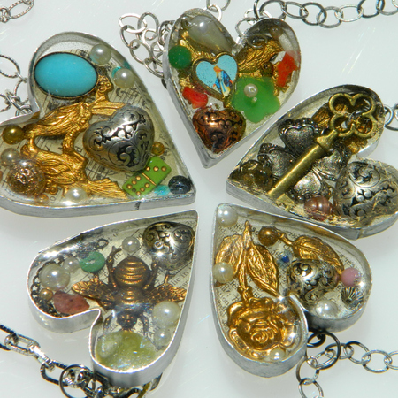 Handmade Bezel Resin Hearts