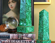 Faux Malachite Obelisks
