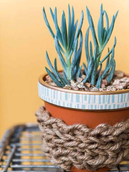 Terra Cotta Pot with Finger-Knitted Cozy by Vickie Howell