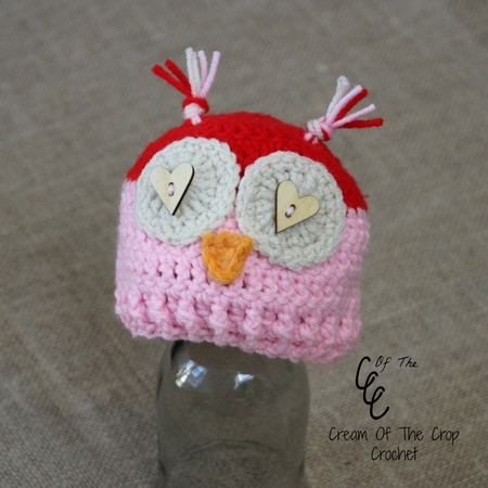 Preemie Valentines Owl Hat