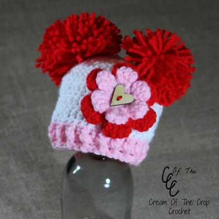 Preemie Pom Pom Flower Hat