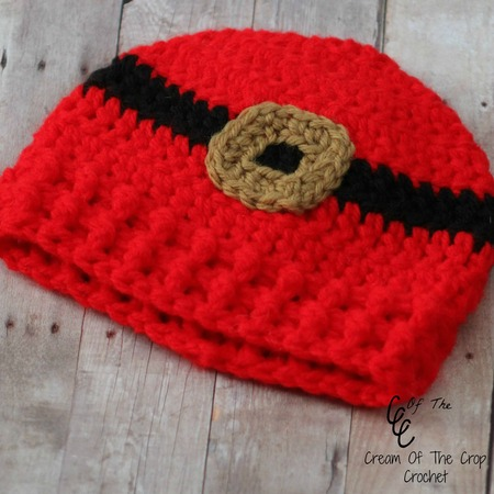 Preemie/Newborn Santa Belt Buckle Hat