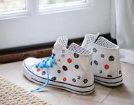 Upcycled Sneakers with Hand-Printed Button Design