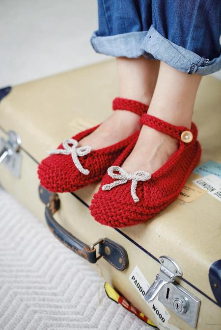 Ruby Red Yarn Ballerina Slippers