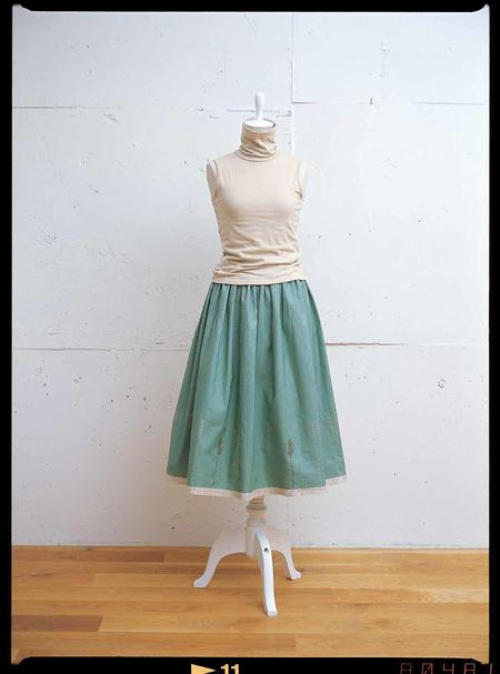 Lacey Green Embroidered Skirt