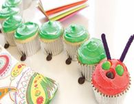 "Colorful ""The Very Hungry Caterpillar"" Cupcakes"