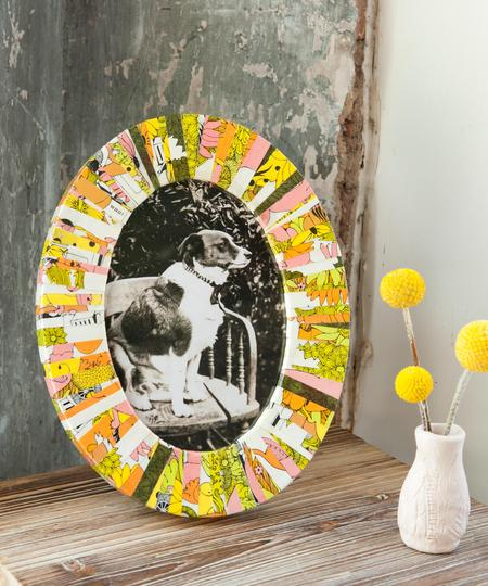 Striped Decoupage Picture Frame