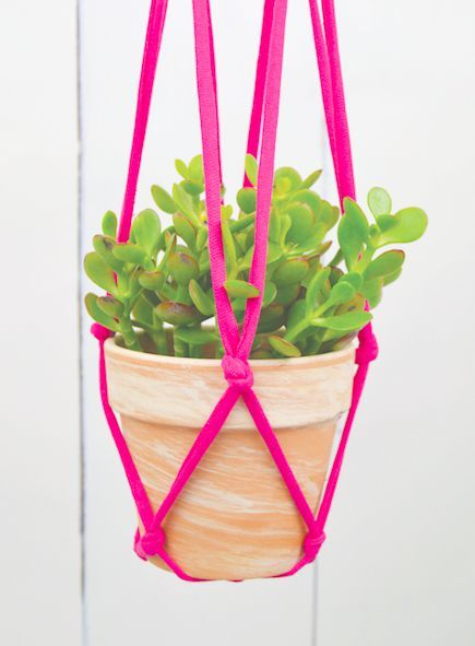 Knotted Hanging Planter T-Shirt Upcycle