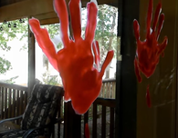 Halloween Windows: Realistic Blood-red Handprints