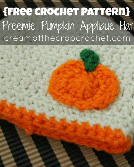 Preemie/Newborn Pumpkin Applique Hats