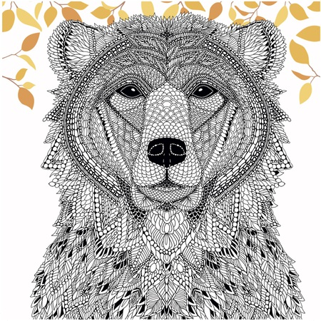Color a Bear from The Menagerie (Free Adult Coloring Page)