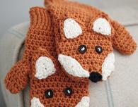 Crocheted Children's Fox Mittens (free pattern)