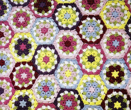 Crocheted Flower Hexagon Blanket Free Pattern Craftfoxes