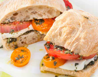 Tomato and Burrata Sub Sandwiches with Pistou